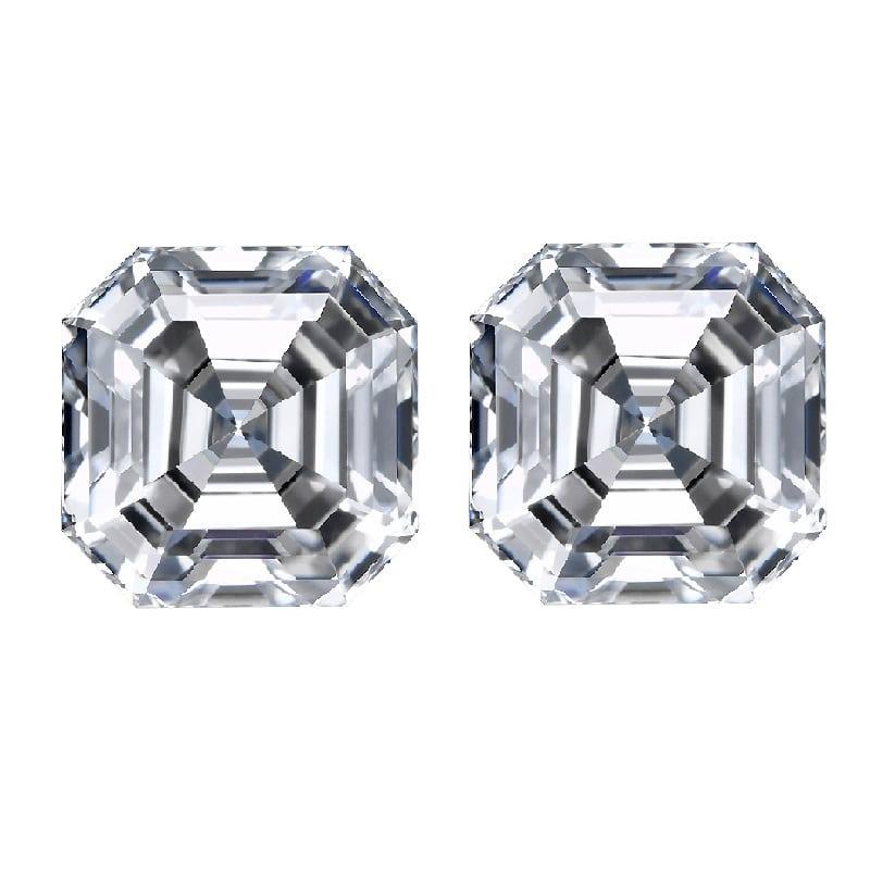 Asscher cut match pair side stones diamonds
