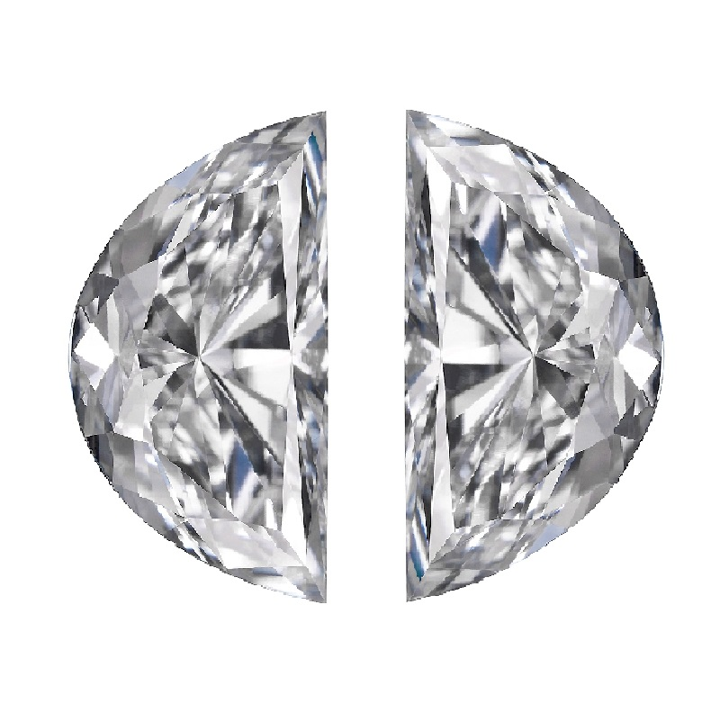 Half moons brillint cut match pair side stones diamonds