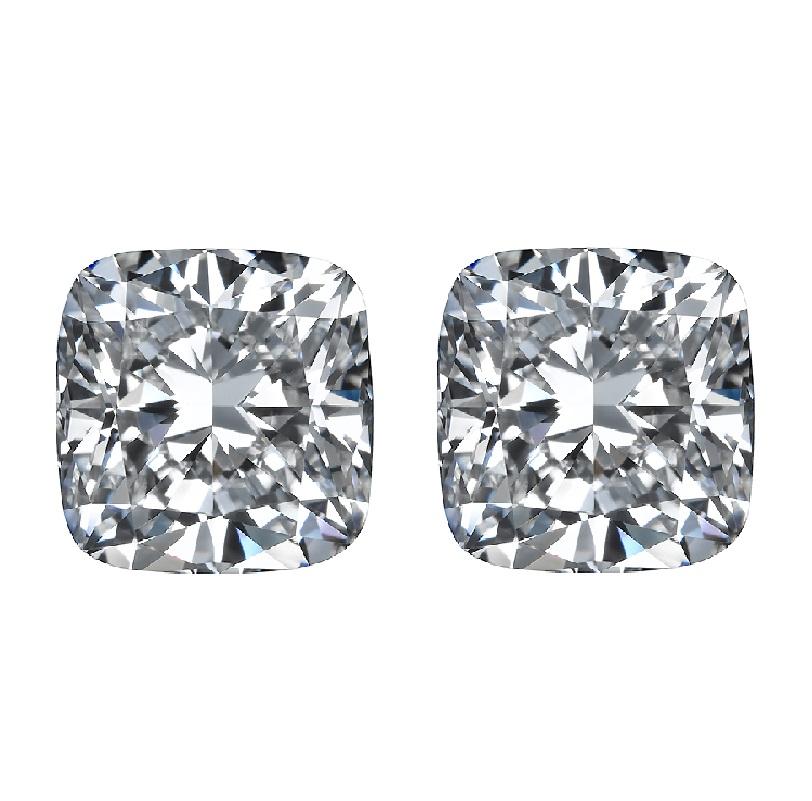 Square Cushions cut match pair side stones diamonds