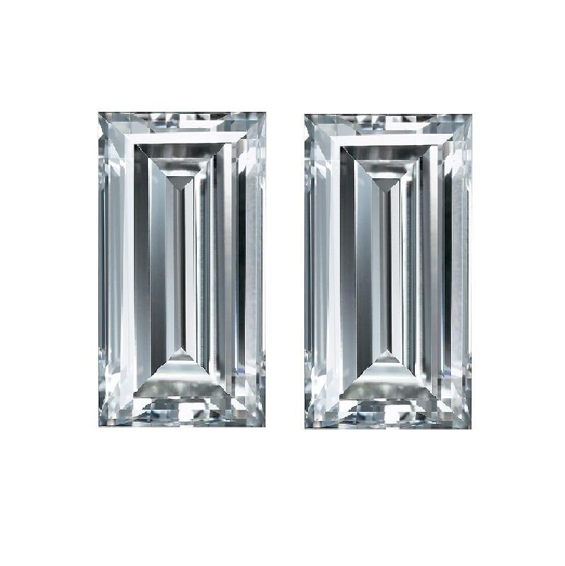 Straight Baguettes shape cut match pair side stones diamonds