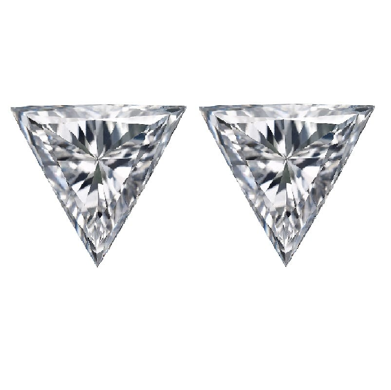 Trillions shape brillint cut match pair side stones diamond