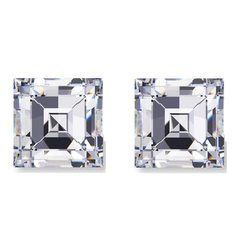 carre diamond, Carre Shaped Matching Diamond Pairs & Side Stones